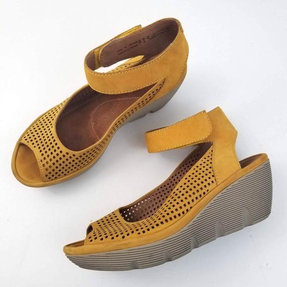 d007a303849c Clarks Shoes - Clarks Reedly Salene Nubuck Wedge Sandals
